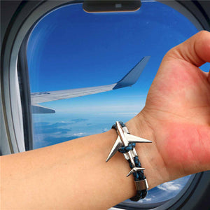 Super Cool Airplane Designed Leather Bracelets