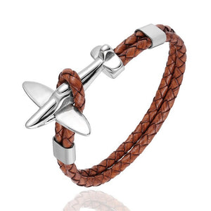 Small Airplane Designed Leather Bracelets