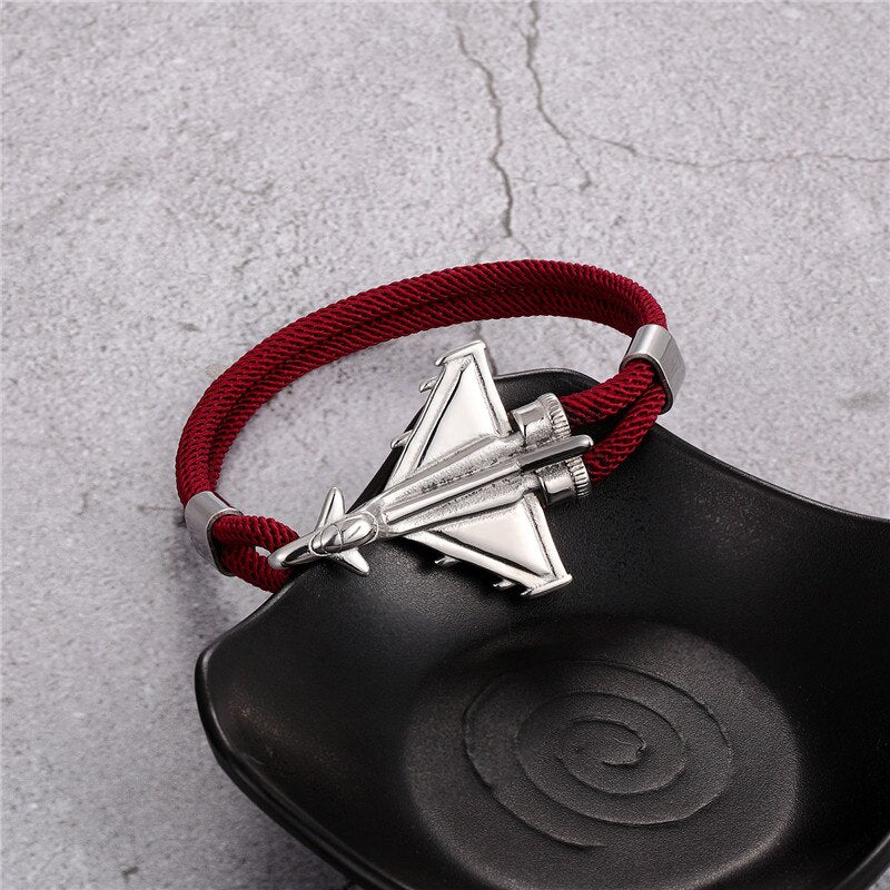 Military Aircraft Designed Leather Rope Bracelets