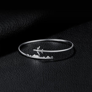 %100 Genuine 925 Sterling Silver Airplane Bracelet
