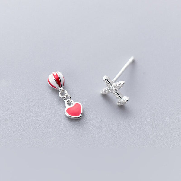 Sparkling Airplane & Balloon Heart Shape Earrings