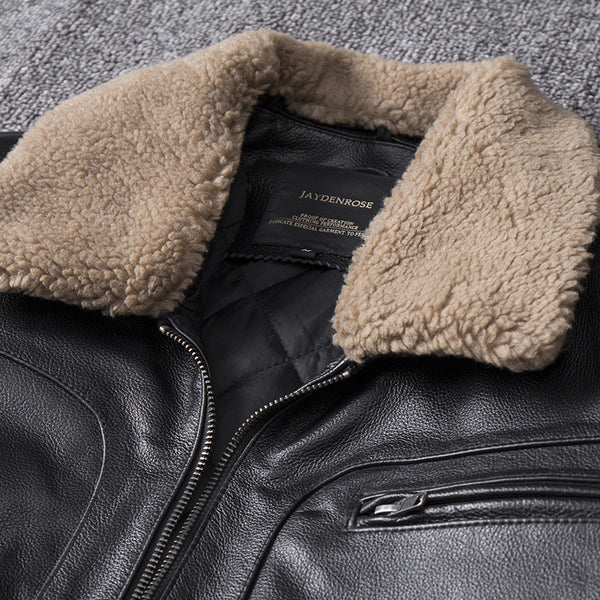 Genuine Leather Removable Fur Collar Aviator Jacket