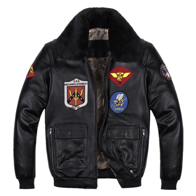 Super Cool Black Genuine Leather Air Force Pilot Jacket