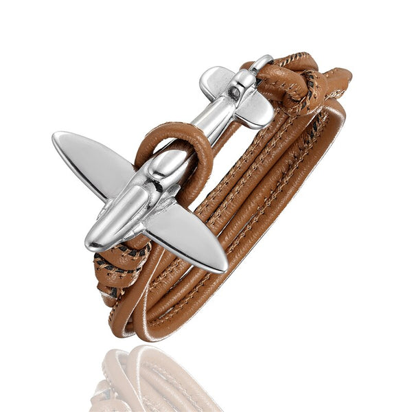 (Edition 3) Small Airplane Designed Leather Bracelets
