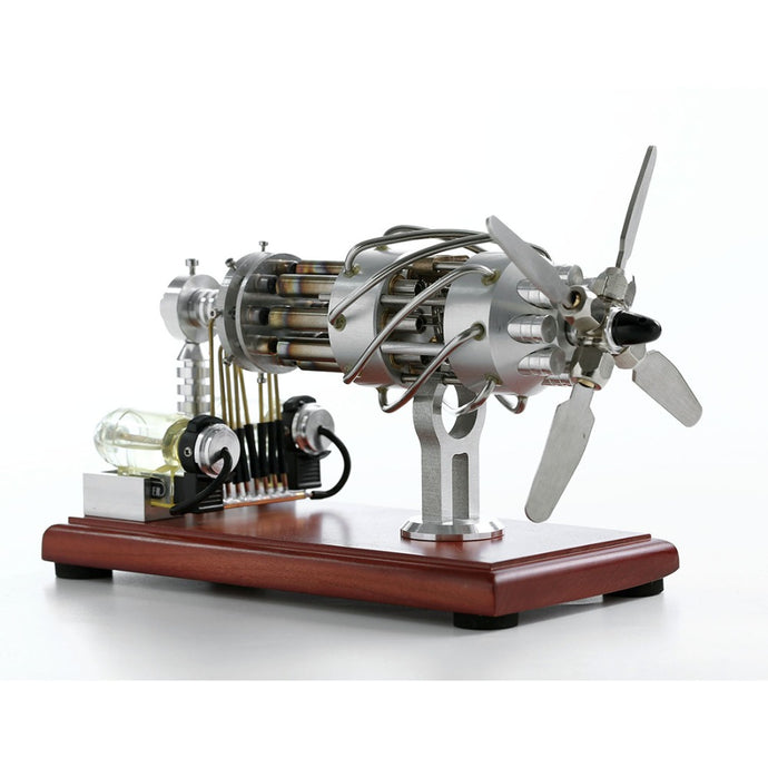 Airplane Engine Motor Model 16 Cylinders works with Hot Air Stirling