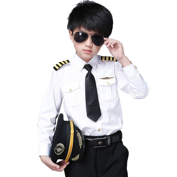 For CHILDREN Pilot Shirt + Epaullettes + Tie + Badge