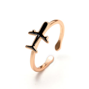 925 Sterling Silver Rose Gold Adjustable Amazing Airplane Rings