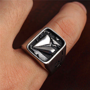 Paper Airplane & Stainless Stain Silver Ring