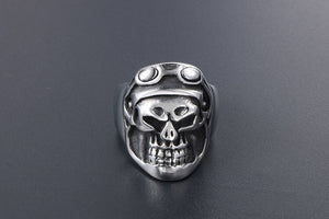 Punk Pilot Skull Designed Super Stainless Steel Ring