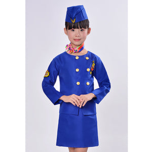 """Blue"" Colored Hostess & Stewardess Uniform for Children"