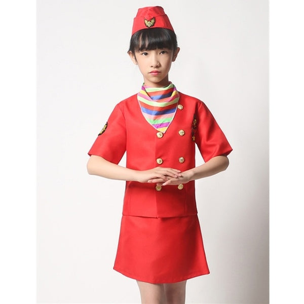 """Red"" Colored Hostess & Stewardess Uniform for Children"