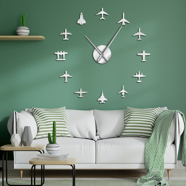 Airplane Shapes Acrylic Mirror Effect Sticker Wall Clock