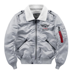 Flying Tiger Themed Fur Collar Designed Pilot Bomber Jackets
