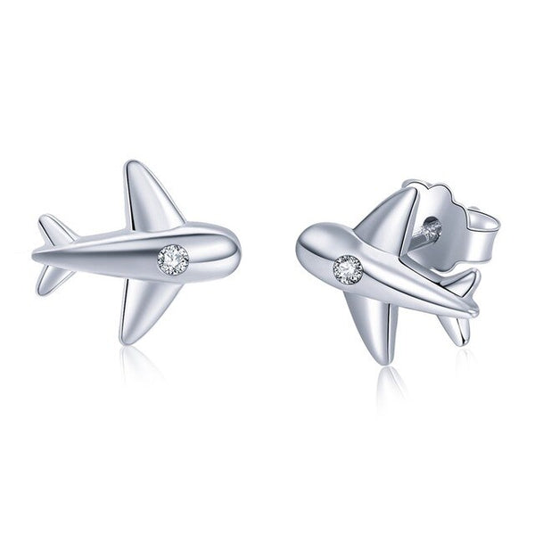 Ultra High Quality 925 Silver Airplane Shape Earrings