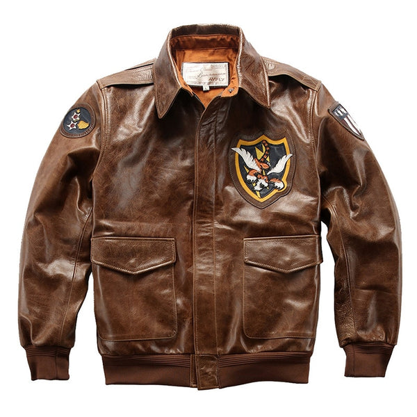 Flying Tigers Patch Designed Genuine Leather Pilot Jackets