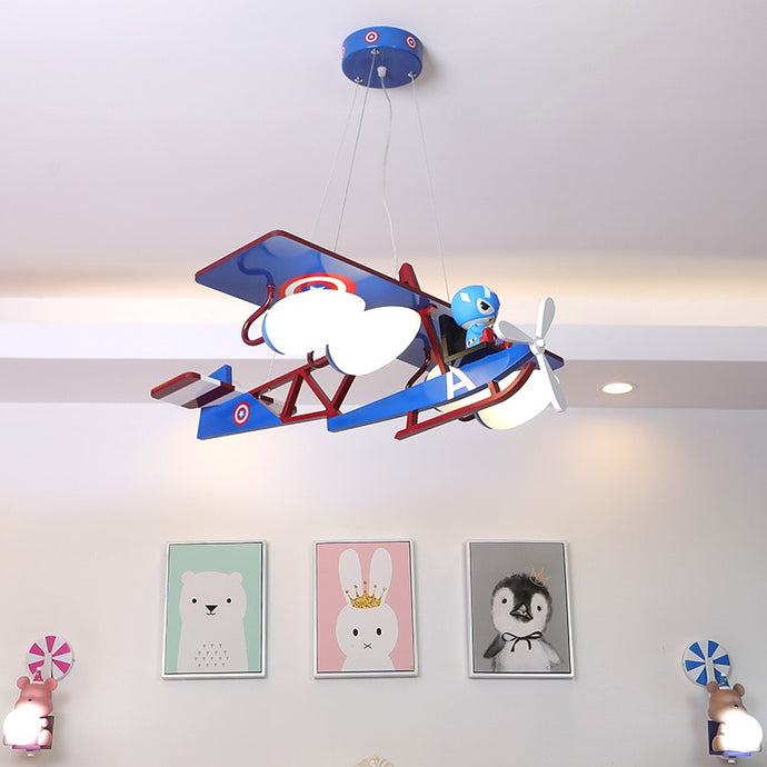 Comics Style & Airplane Shape Wall Lamp