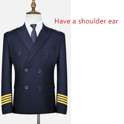 Special Edition High Quality Airline Pilot Suit Jackets & Coat (Black & Dark Blue)