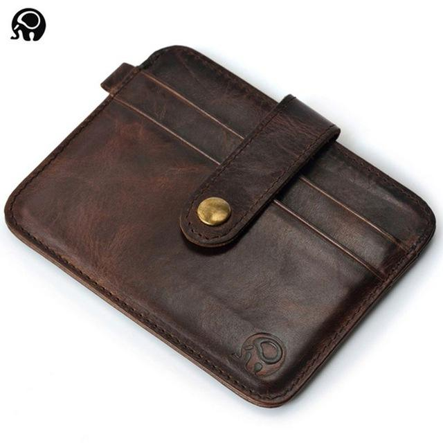 Slim Leather Men Cardholder & Wallet Pilot Eyes Store Coffee