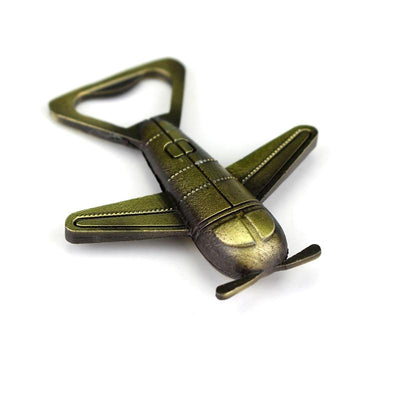 Antique Bronze Designed Airplane Shaped Key Chain & Bottle Opener Aviation Shop
