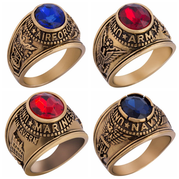 Super Quality (Gold Colour) United States Air Force & Army & Marines Designed Rings