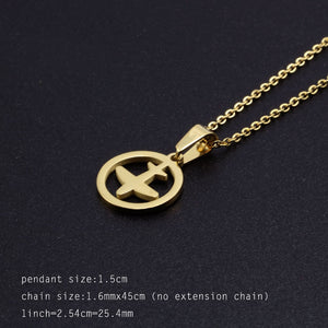 316L Stainless Steel Airplane in Circle Designed Necklace