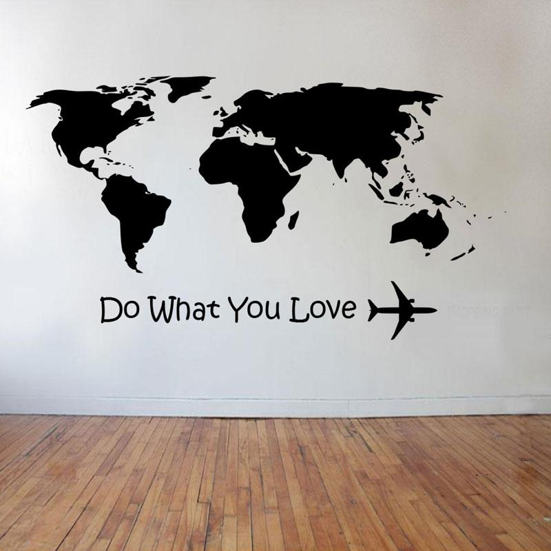 Do What You Love & World Map Designed Wall Stickers Pilot Eyes Store