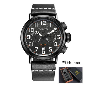 Chronograph Sport Style Pilot & Aviator Watches Pilot Eyes Store Black & White + BOX