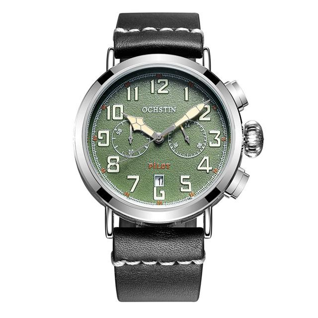 Chronograph Sport Style Pilot & Aviator Watches Pilot Eyes Store Silver & Green
