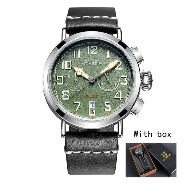 Chronograph Sport Style Pilot & Aviator Watches Pilot Eyes Store Silver & Green + BOX