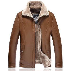 PU & Faux Leather Winter Style Pilot Bomber Jackets Pilot Eyes Store Brown 4XL (US 2XL)