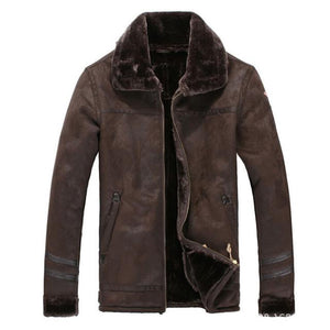 Faux Winter Style Pilot Bomber Jackets Pilot Eyes Store Grayish Brown US Large