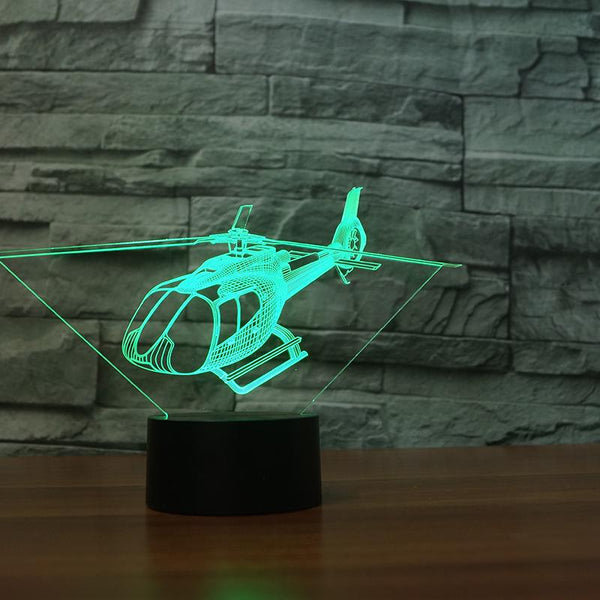Small Helicopter Designed 3D Lamp