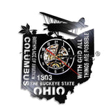USA State Ohio Designed Wall Clocks
