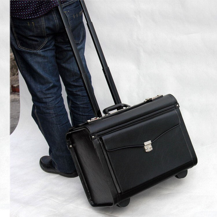 Leather Style Carry-On Luggage for Pilots