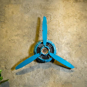 Creative 3 Propeller Designed Wall Clocks Pilot Eyes Store Black