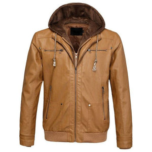PU Leather Hooded Bomber Pilot Style Jackets Aviation Shop Khaki L