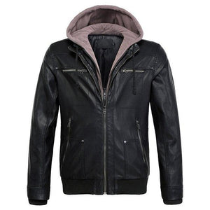 PU Leather Hooded Bomber Pilot Style Jackets Aviation Shop Black L