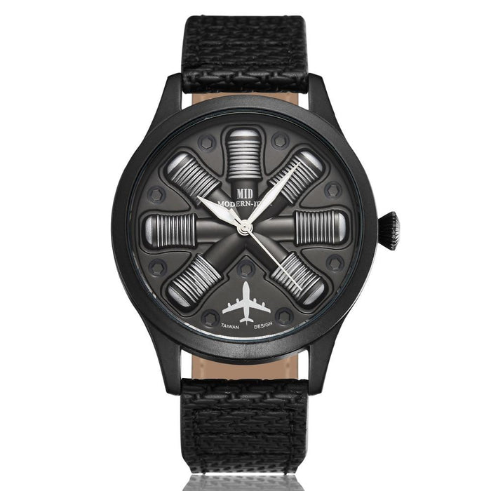Aircraft Engine Shape Designed Aviator Watches Aviation Shop