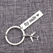 Fly Safe tagged Airplane Shape Key Chain Aviation Shop