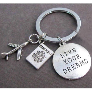 Live Your Dreams & Passport tagged Airplane Shape Key Chain Aviation Shop