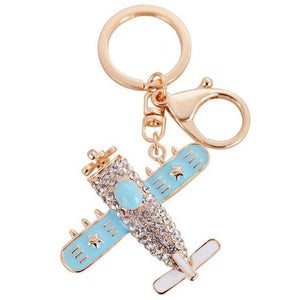 Vintage and Cute Crystal Designed Airplane Shape Key Chains Aviation Shop 1