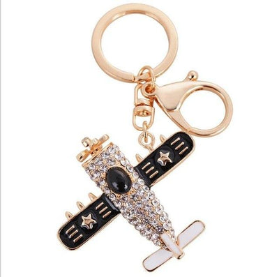 Vintage and Cute Crystal Designed Airplane Shape Key Chains Aviation Shop 3