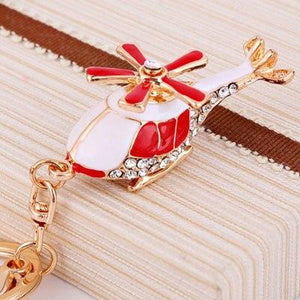 Cute Helicopter Shaped Key Chains Aviation Shop Red