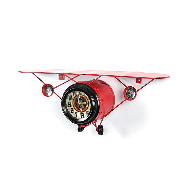Retro Style Airplane Wall Clocks with Shelve Feature