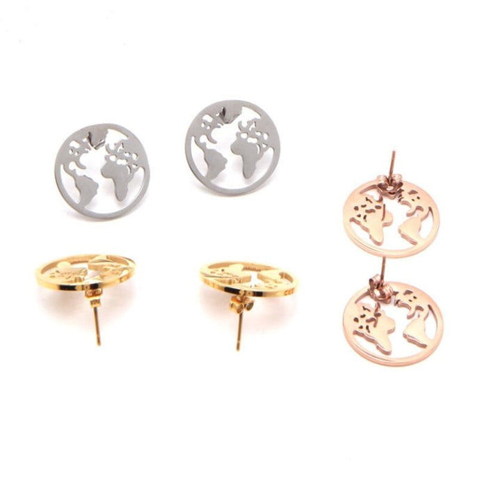 World Map Shape Designed Earrings