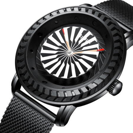 Rotating Jet Engine Turbine Designed Aviator Watches