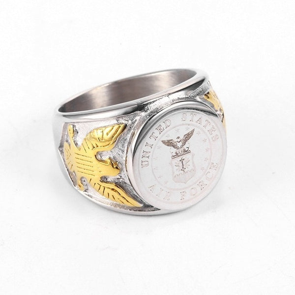 Silver-Gold Color USA US Air Force Military Rings