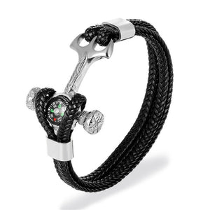 "Super ""Rope Style"" Leather Bracelet with Compass"