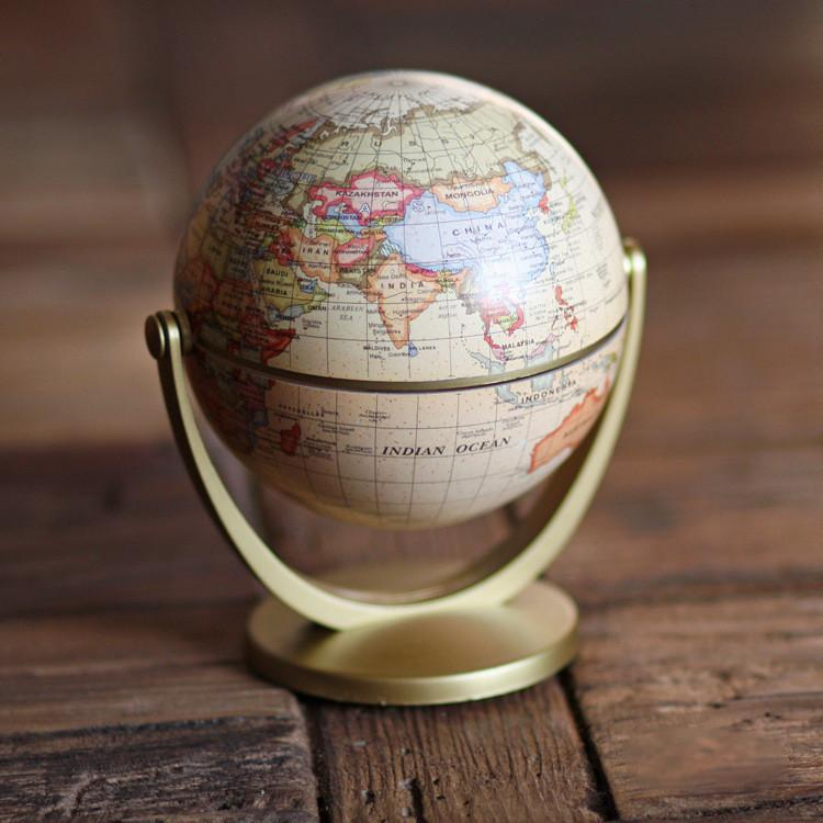Retro Designed Globe Shaped World Map