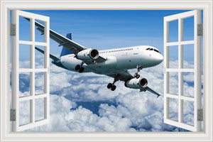 Stunning View Of Airline Jet Over The Clouds Printed Wall Stickers